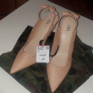 Zara Shoes - Brand New Zara Woven Slingback Heel